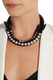 Lanvin Leather and faux pearl necklace