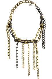 Gold-tone, leather and Swarovski crystal necklace