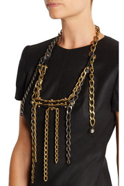 Lanvin Gold-tone, leather and Swarovski crystal necklace