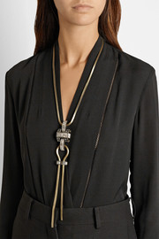 Lanvin Antiqued gold-tone crystal necklace
