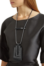 Lanvin Pewter-plated and blackened crystal necklace