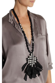 Lanvin Gunmetal-tone, faux pearl and ribbon necklace