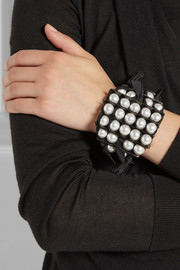 Lanvin Leather and faux pearl bracelet