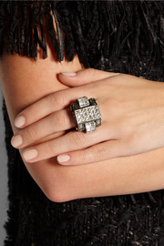 Lanvin Pewter-plated crystal ring