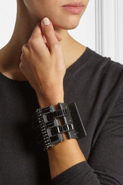 Lanvin Leather, blackened pewter and crystal cuff