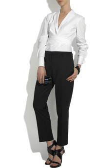 Donna Karan Cotton-blend wrap shirt