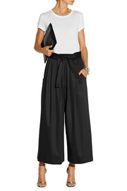 TOME Belted stretch-cotton sateen culottes