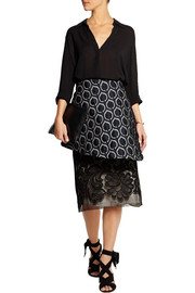 TOME Brocade and cotton-blend lace peplum skirt