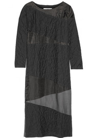 Paneled textured-cotton and silk-organza maxi dress
