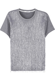Metallic fringed jersey top