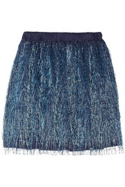 Julien David Metallic fringed jersey mini skirt
