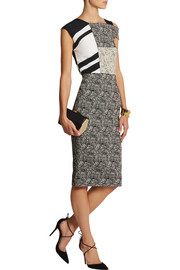 Roland Mouret Tipula stretch-jacquard and striped crepe dress