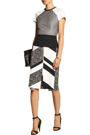 Roland Mouret Cerura patchwork cotton-blend canvas and stretch-crepe skirt