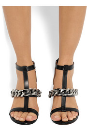 Mirtilla chain-embellished sandals in black leather