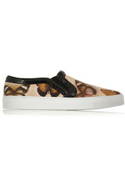 Skate shoes in butterfly-print leather with watersnake trim