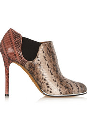 Elia ankle boots in taupe and rust elaphe