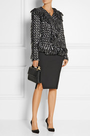Lanvin Frayed bouclé-tweed peplum jacket