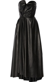 Gathered faux stretch-leather dress