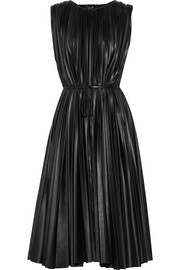 Pleated faux leather midi dress