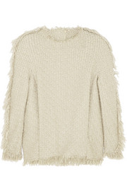 Lanvin Fringed wool-blend tweed top