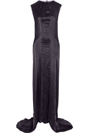 Lanvin Draped-back satin gown