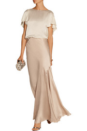 Lanvin Draped satin maxi skirt
