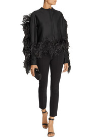 Lanvin Feather-trimmed wool-blend jersey jacket