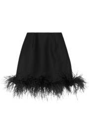 Lanvin Feather-trimmed wool-blend mini skirt