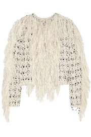 Lanvin Fringed wool-blend tweed jacket