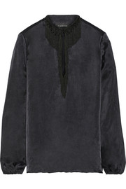 Lanvin Embellished satin blouse
