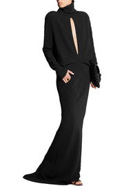 Haider Ackermann Turtleneck split-front crepe gown