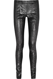 Haider Ackermann Jersey-paneled metallic python and suede leggings