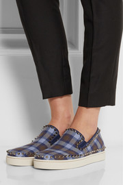 Christian Louboutin Pik Boat studded plaid flannel sneakers