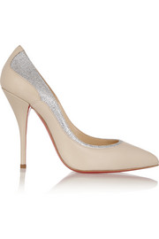 Christian Louboutin Tucsy 100 glitter-trimmed leather pumps