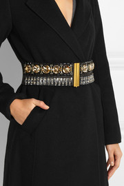 Marni Embellished leather, felt and canvas waist belt