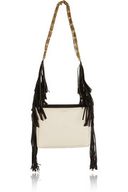 Tribale fringed textured-leather shoulder bag