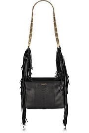 Lanvin Tribale small fringed python shoulder bag