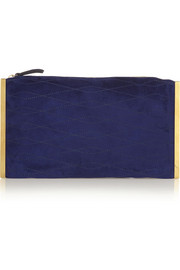 Private embroidered suede clutch