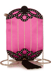Long Festival embellished silk-satin shoulder bag