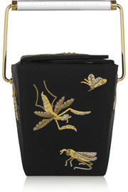 Take Me Away embroidered satin-crepe clutch