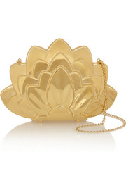 Charlotte Olympia Lotus brass clutch