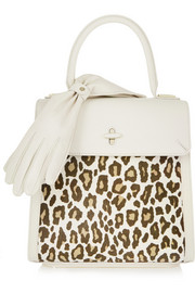 Bogart leopard-print calf hair and textured-leather tote
