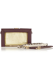 Charlotte Olympia Astaire Perspex and leather clutch