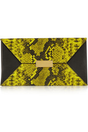 Beckett faux python and faux leather clutch