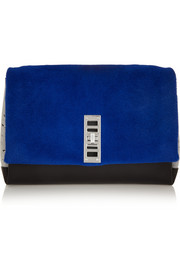 PS Elliot shearling, suede and leather clutch