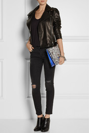 Proenza Schouler The Lunch Bag large jacquard and leather clutch