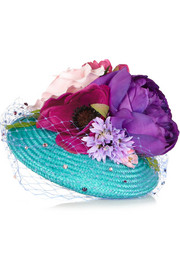 Flower-embellished straw headpiece