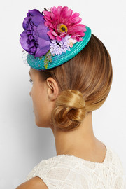 Piers Atkinson Flower-embellished straw headpiece