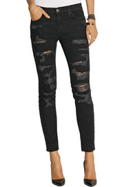 Current/Elliott The Stiletto Biker distressed low-rise skinny jeans