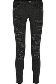 The Stiletto Biker distressed low-rise skinny jeans